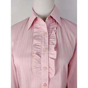 Pink Striped Collared Long Sleeves Shirt